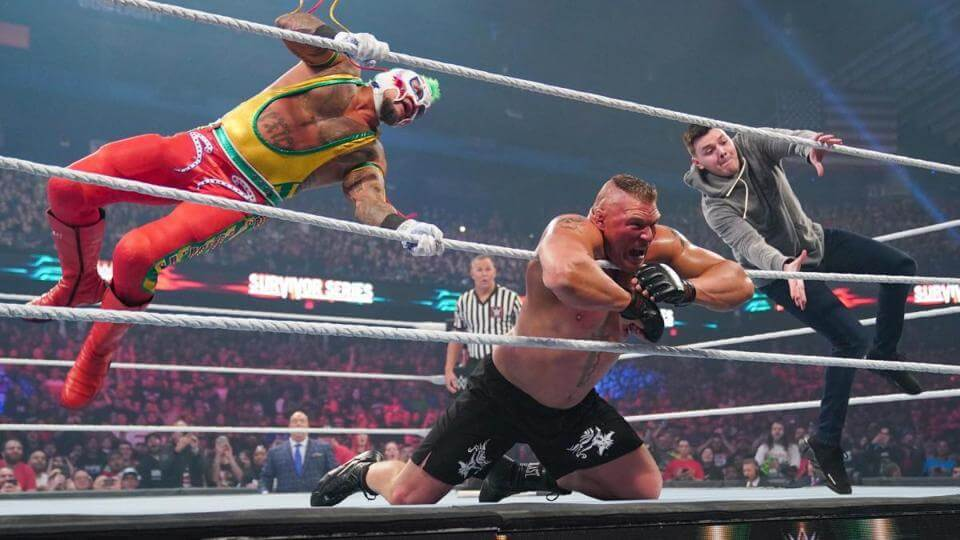 Rey Mysterio and son Dominic team up to take down Brock Lesnar