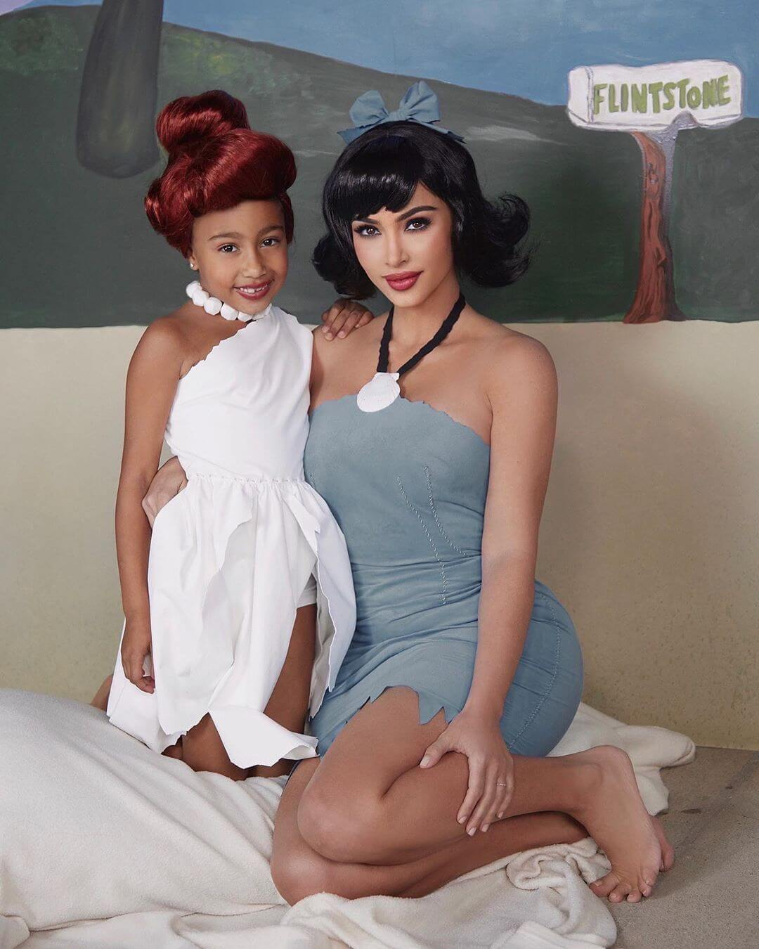 With her daughter, North