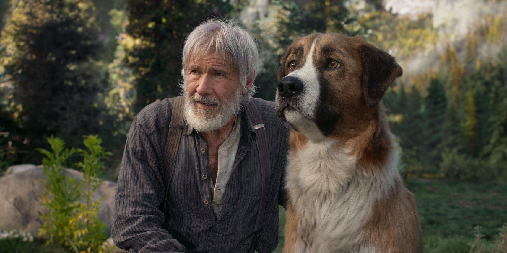 Actor Harrison Ford and his canine pal in The Call of the Wild