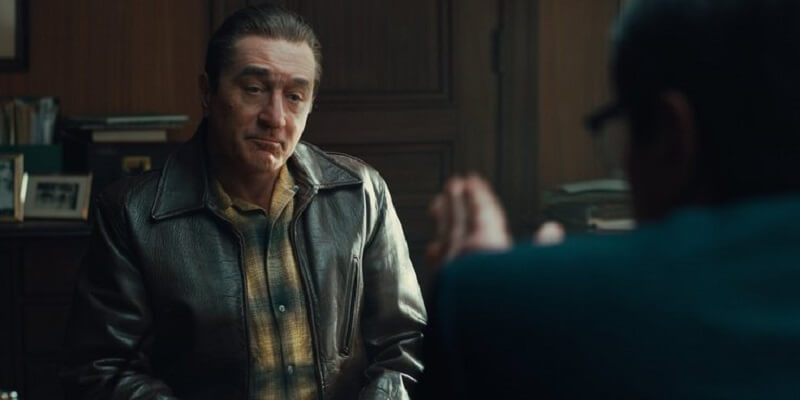 A De-aged Robert De Niro as Frank Sheeran
