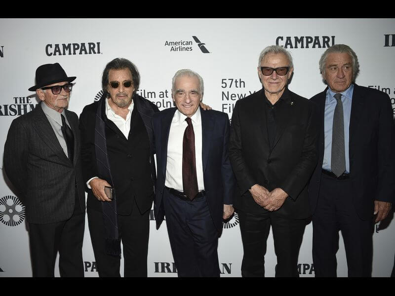 From the left: Joe Pesci, Al Pacino, Director Martin Scorsese, Harvey Kietel, and Robert De Niro