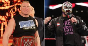 Brock Lenar faces the much smaller Rey Mysterio in a match for the WWE Championship Title