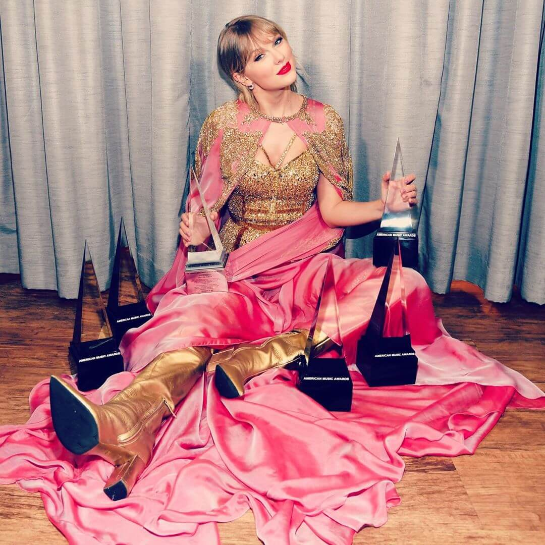 Taylor with some of her awards