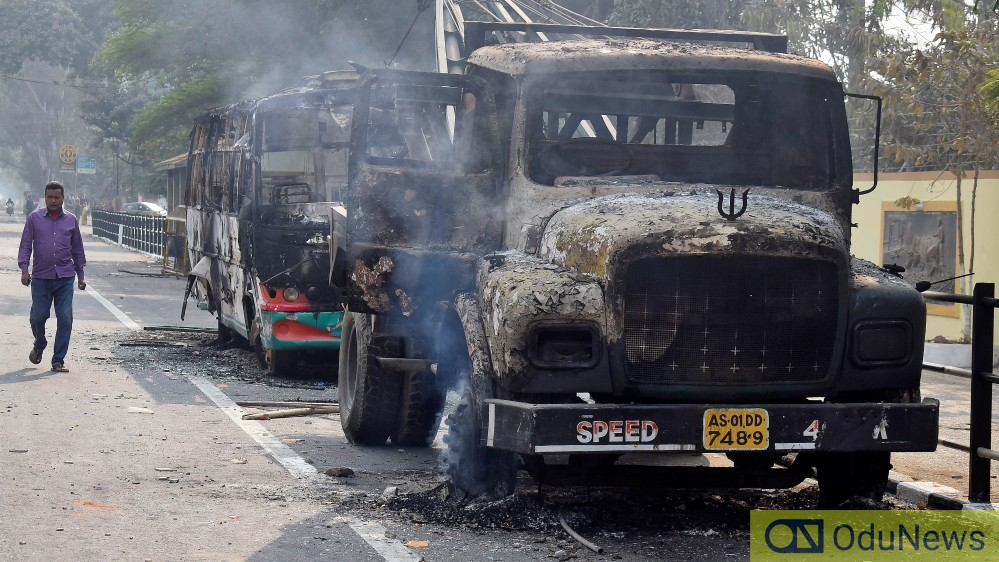 Burnt lorries By Angry Protesters.