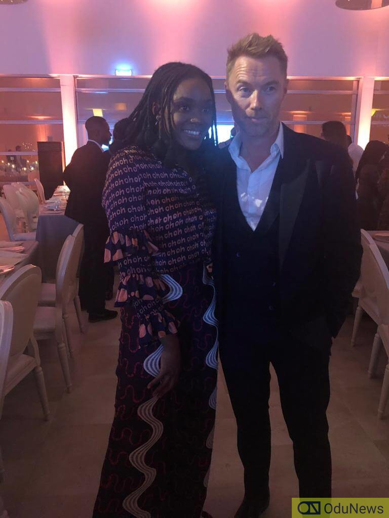 Falana with Ronan Keetinv after her performance