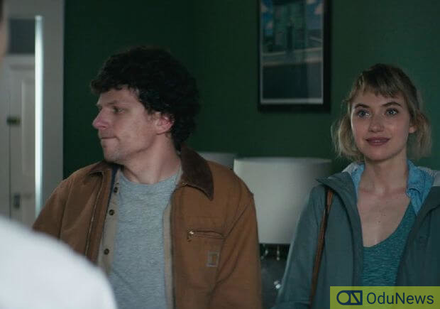 Jesse Eisenberg and Imogen Poots star as a couple who are trapped in what seems to be a tranquil place