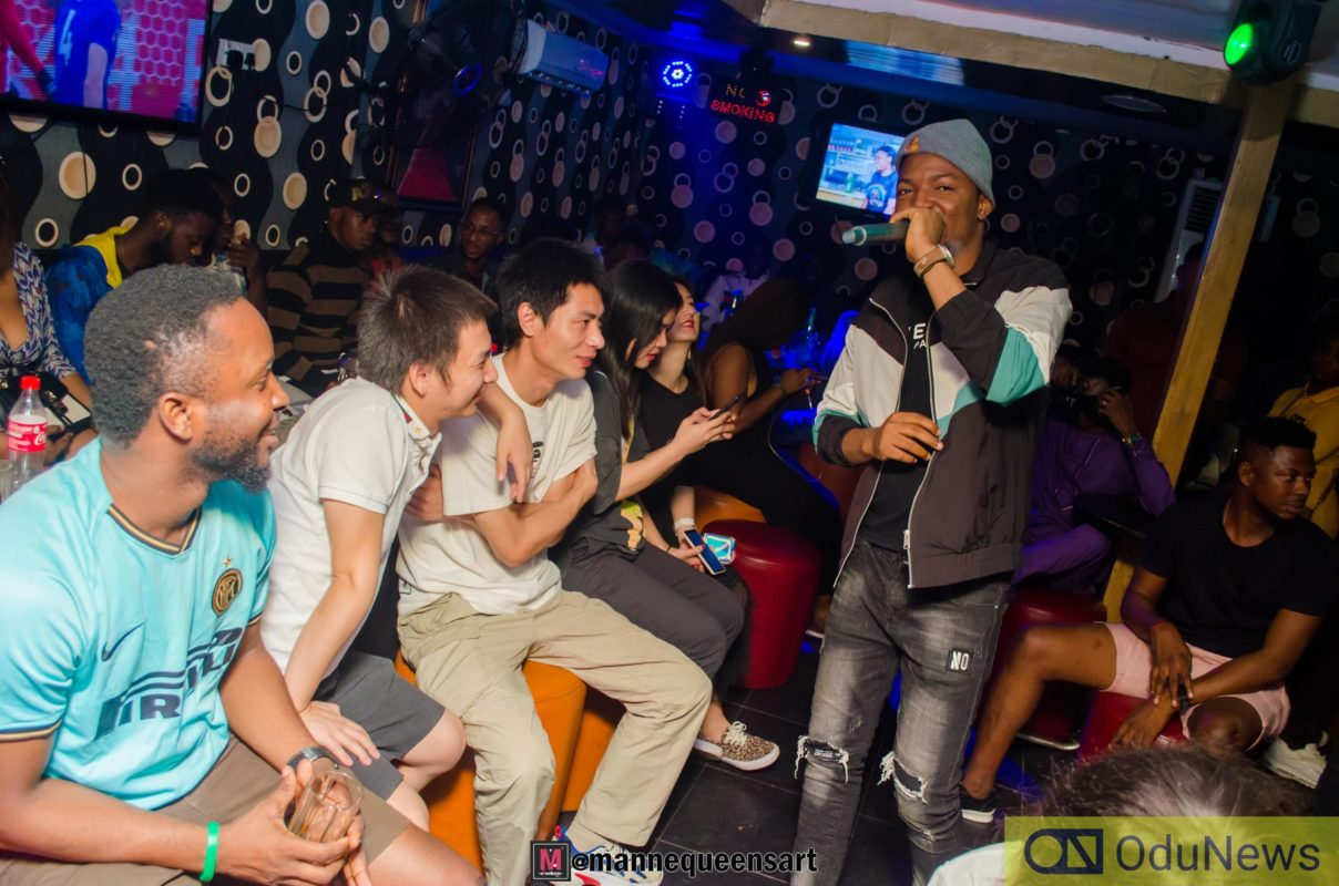 Ralio joggling it up with friends at his listening party
