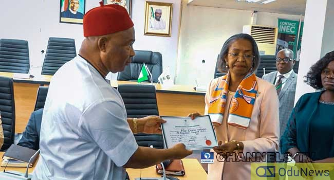 Imo: INEC Presents Certificate Of Return To Uzodinma