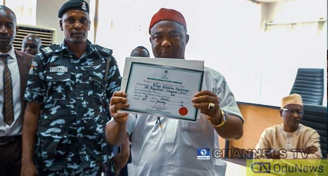 INEC Presents Certificate Of Return To Uzodinma