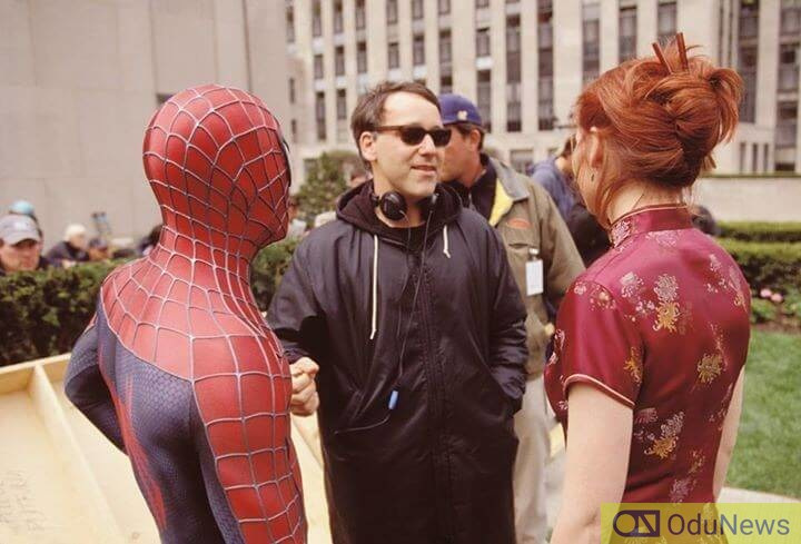 Raimi on the set of the first SPIDER-MAN movie