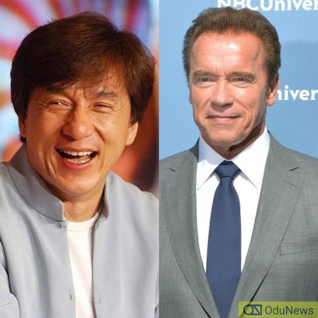 Jackie Chan and Arnold Schwarzenegger fight each other in The Iron Mask