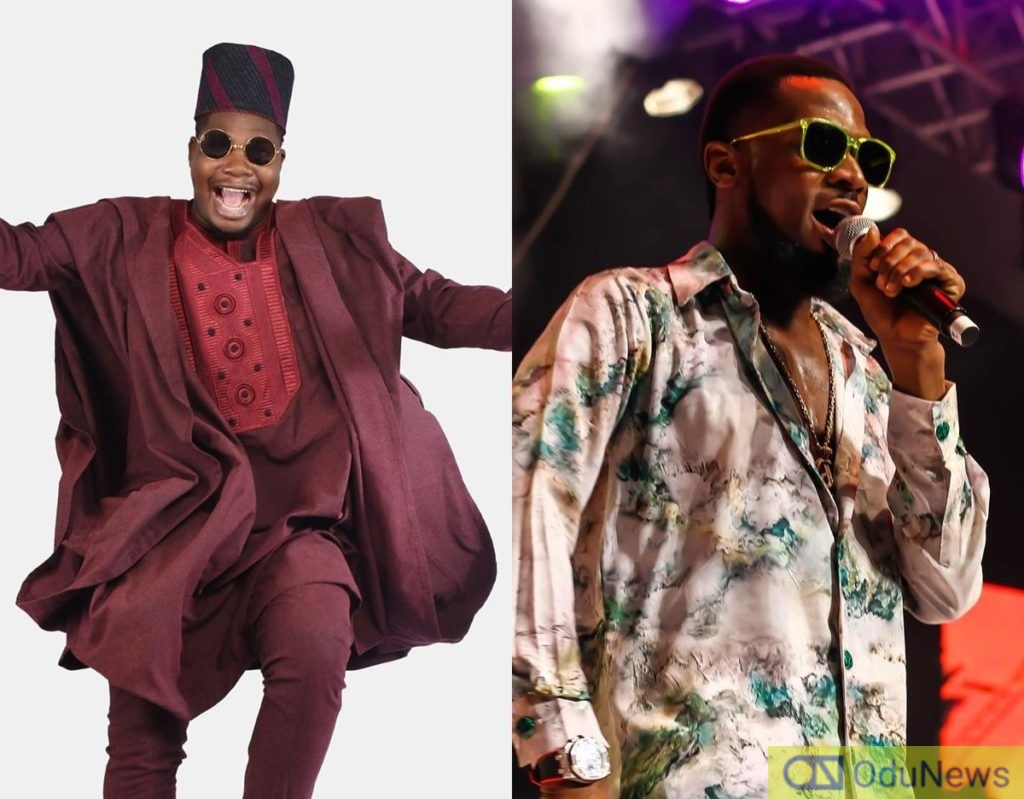 Watch Comedian Mr. Macaroni Prostrate As He Meets D'Banj For The First Time