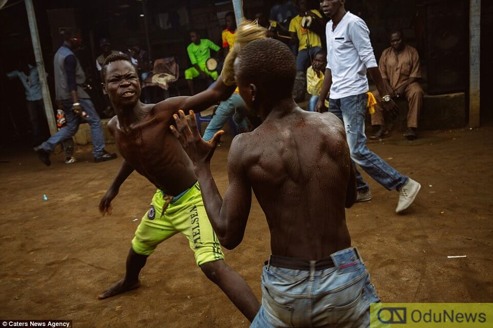 A typical fight between two Nigerian boys