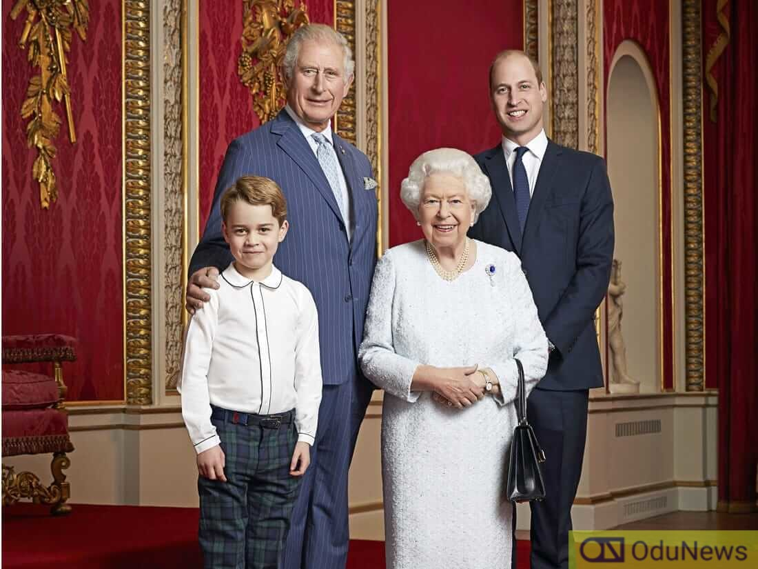Prince Charles, his mother Queen Elizabeth, his son Prince William, and grandson