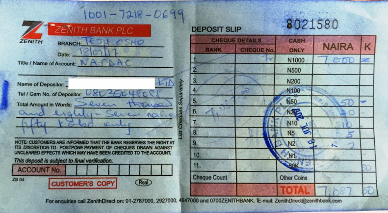 A Copy of deposit slip