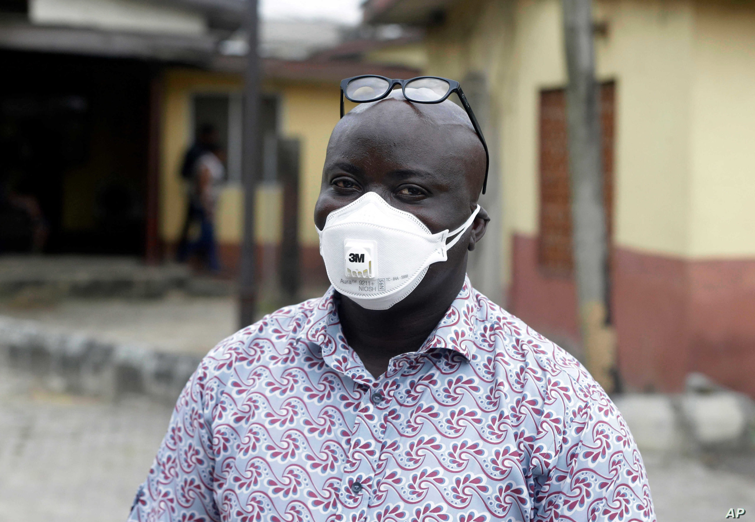 A man wearing a face mask in Nigeria