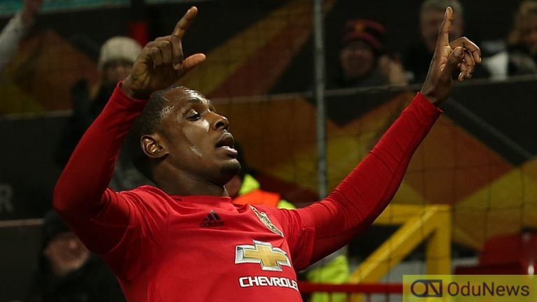 Odion Ighalo after scoring twice for Man Utd against Derby on Thursday