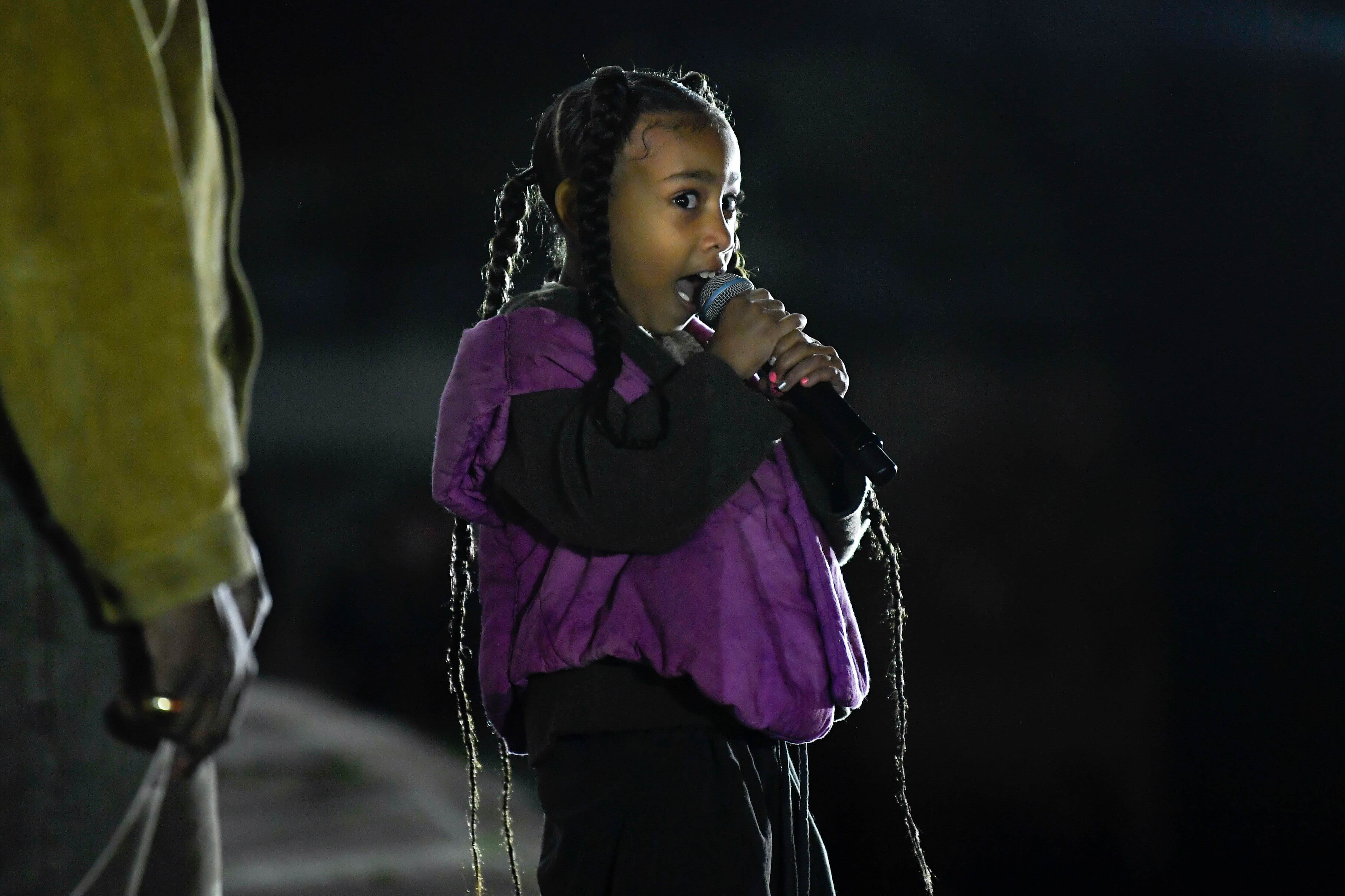 North West was urged by her dad to perform at the event
