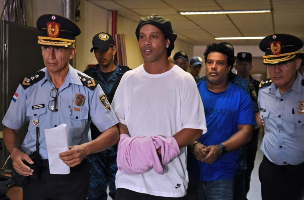 Photo of Ronaldinho coming out of jail