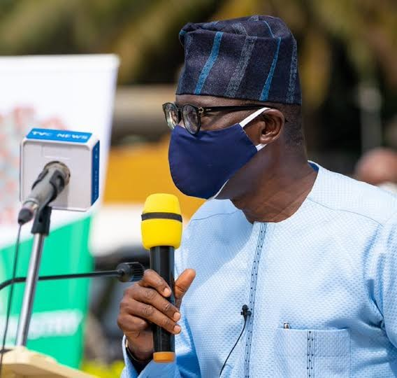 Governor Babajide Sanwo-Olu says wearing face masks helps stop the spread of COVID-19