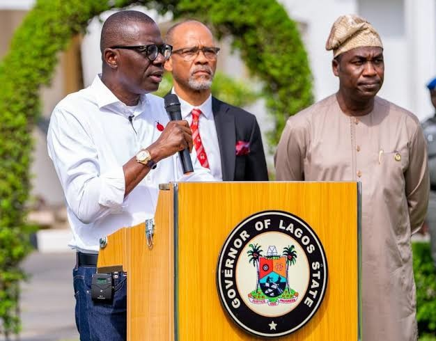 Lagos State Governor Babajide Sanwo-Olu during a press briefing