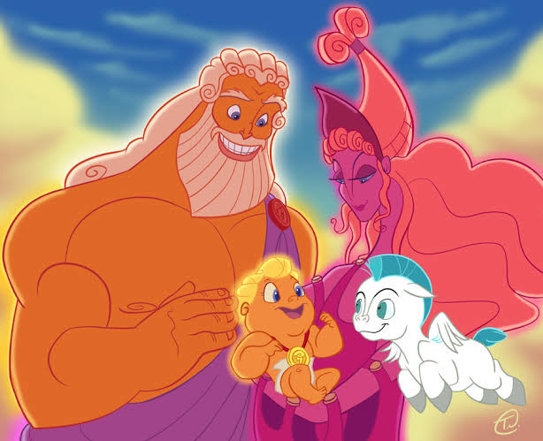Hercules as an infant with his parents and the magical horse Pegasus