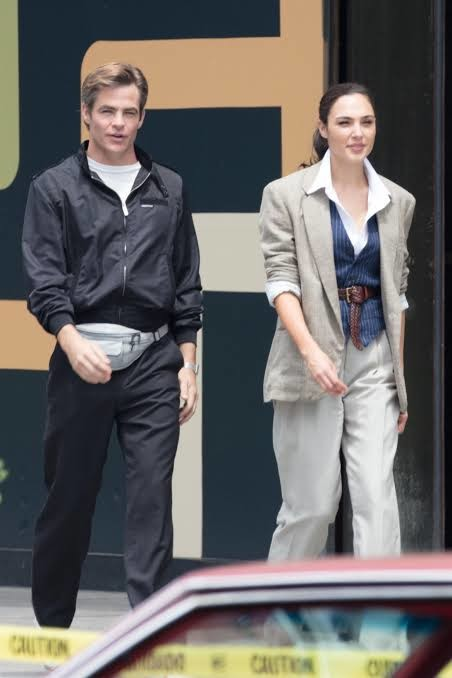 Pine and Gal Gadot on the set of WONDER WOMAN 1984