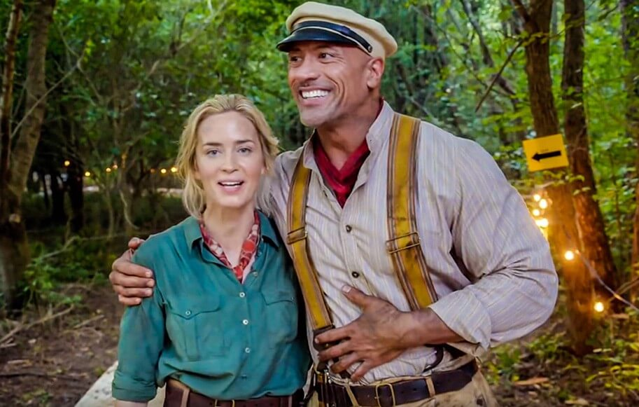 Emily Blunt and Dwayne Johnson on the set of JUNGLE CRUISE