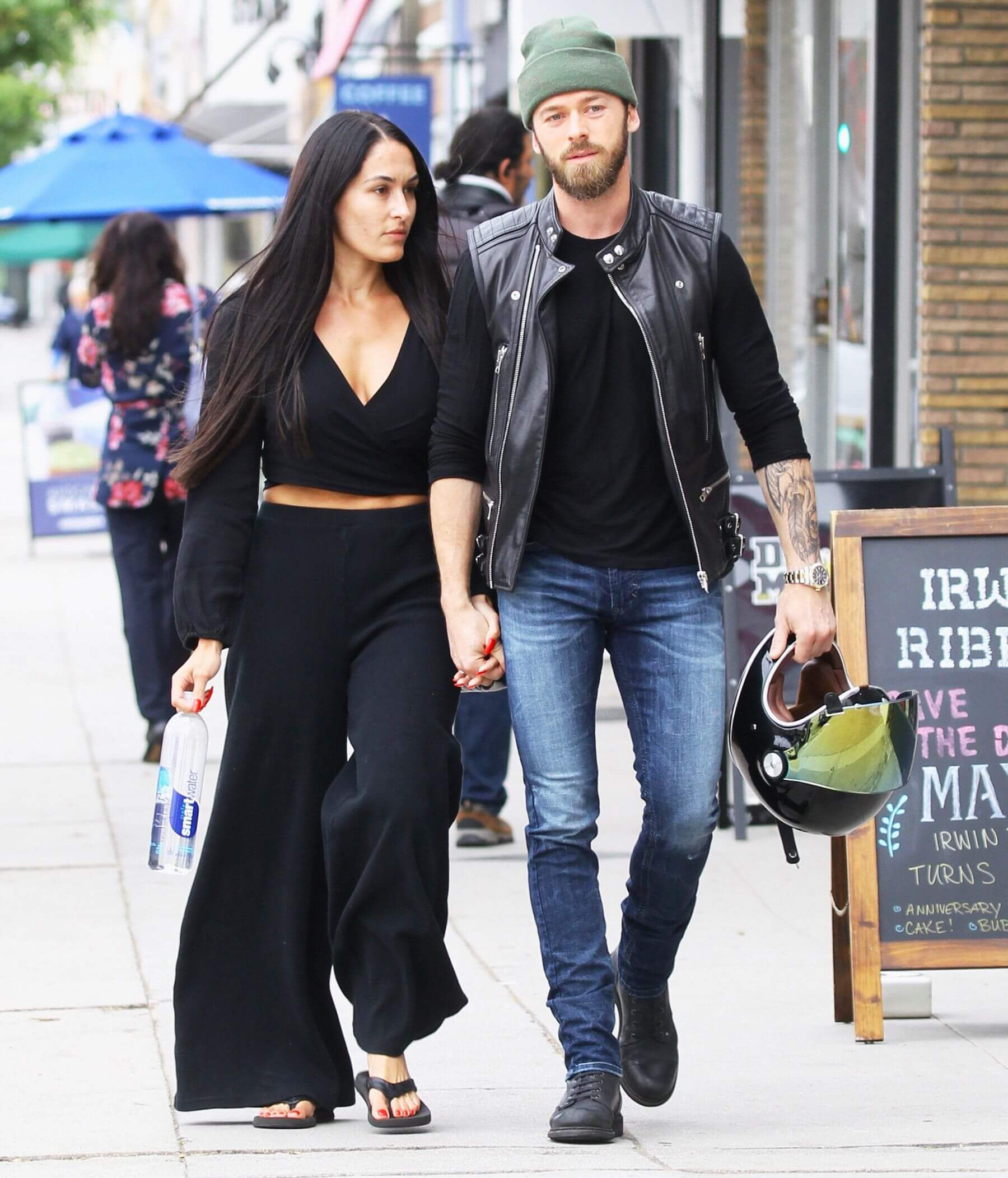 Nikki and Artem taking a stroll