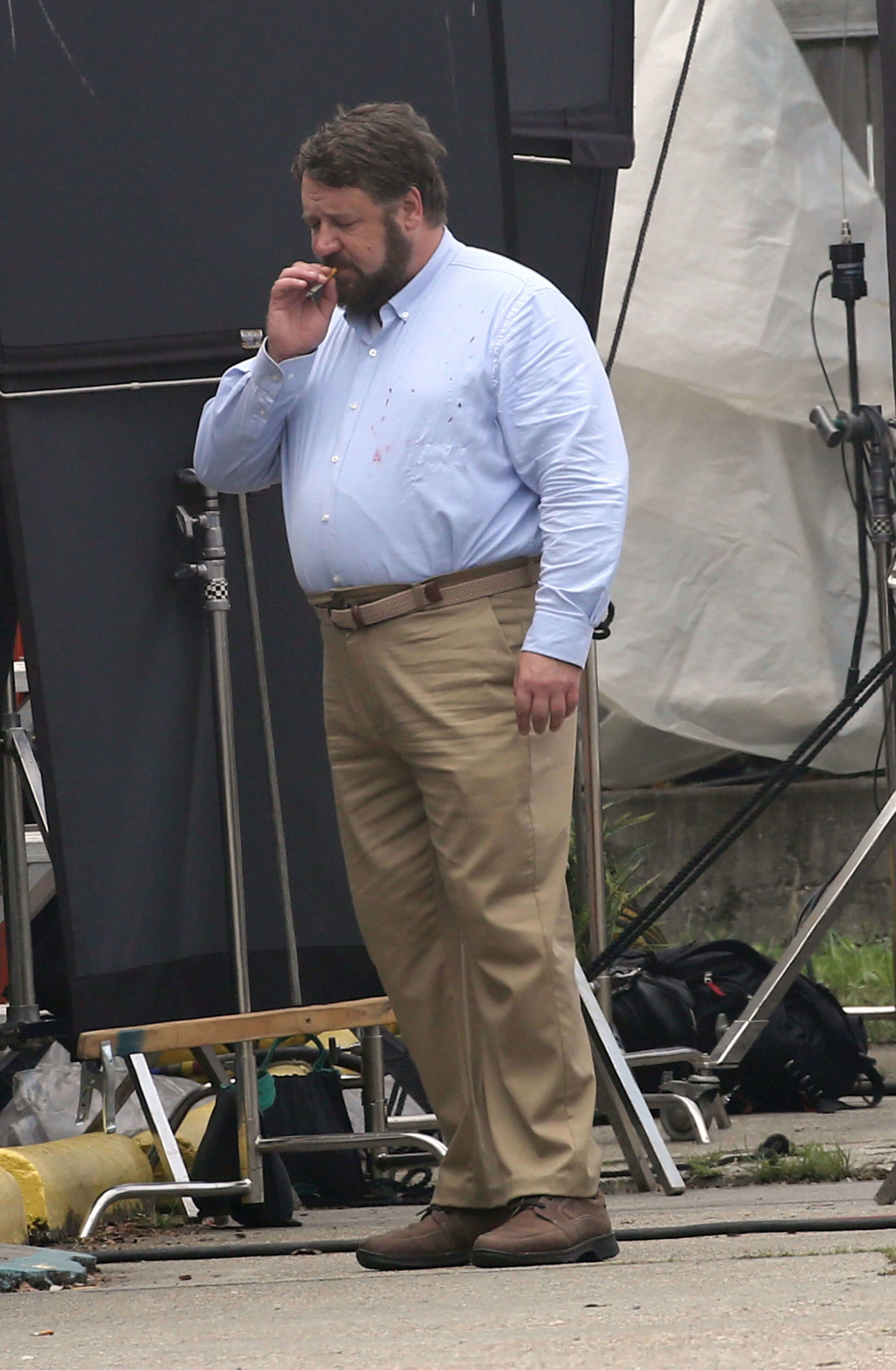 Russell Crowe on the set of UNHINGED