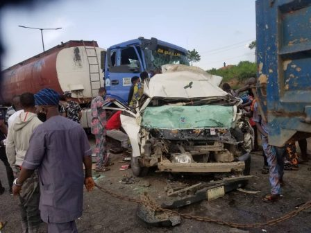 One Dead, Many Injured As Fuel Tanker Crushes Bus On Otedola Bridge