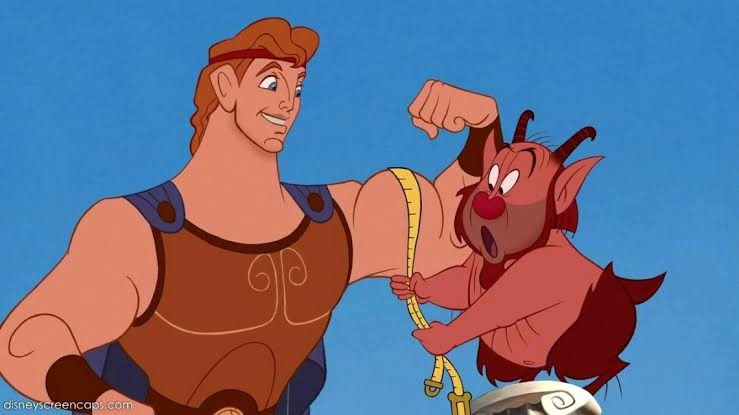 Hercules and his trainer Philoctetes in a scene from the 1997 film