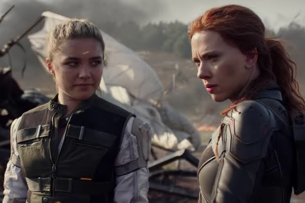 Pugh and Johansson in BLACK WIDOW