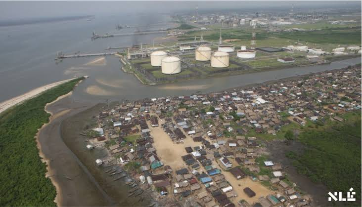 An aerial view of Bonny Island, Rivers State