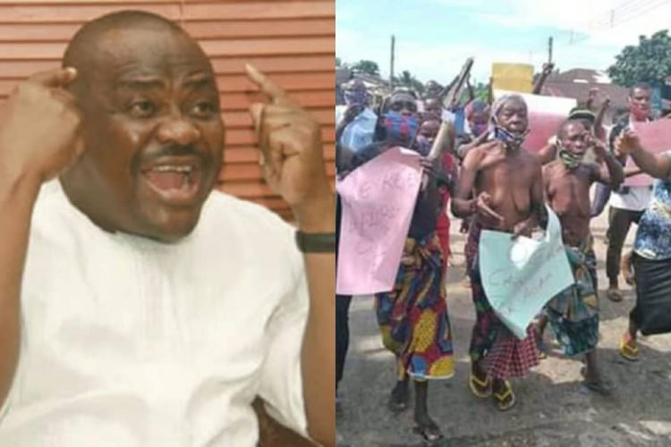 Elderly Woman Protest Half-Naked Against Detention Of Hotel Manager In Rivers