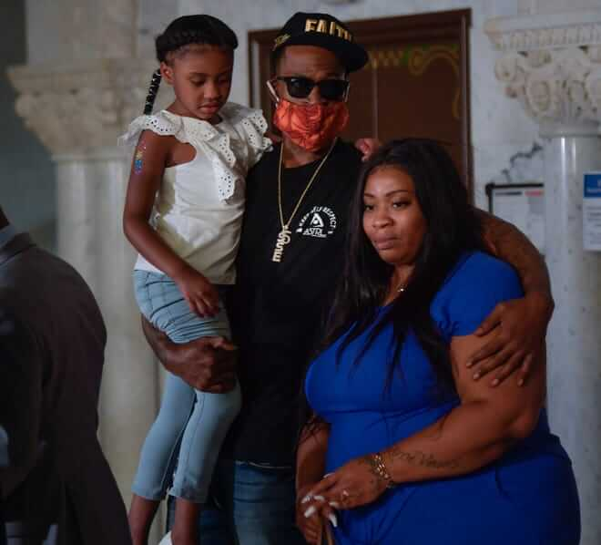 Floyd's six-year-old daughter Gianna, her mother Roxie Washington, and co.
