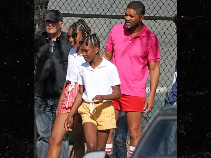 Will Smith as Richard Williams along with the actresses playing the tennis stars as kids