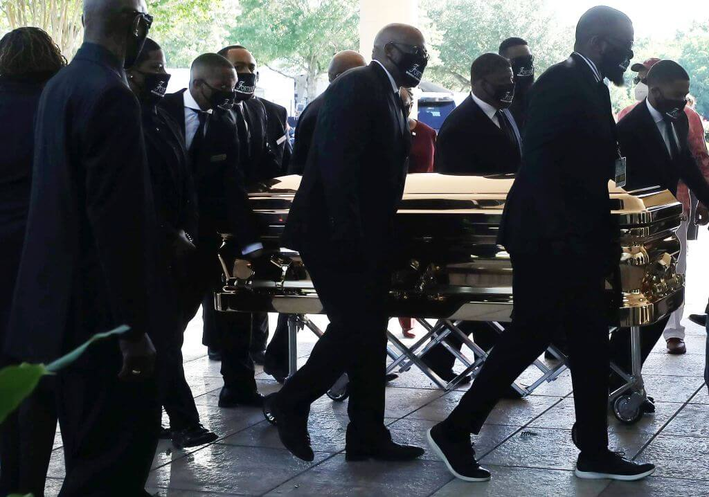 Casket containing George Floyd being wheeled into the venue/Photo Credit: Getty Images