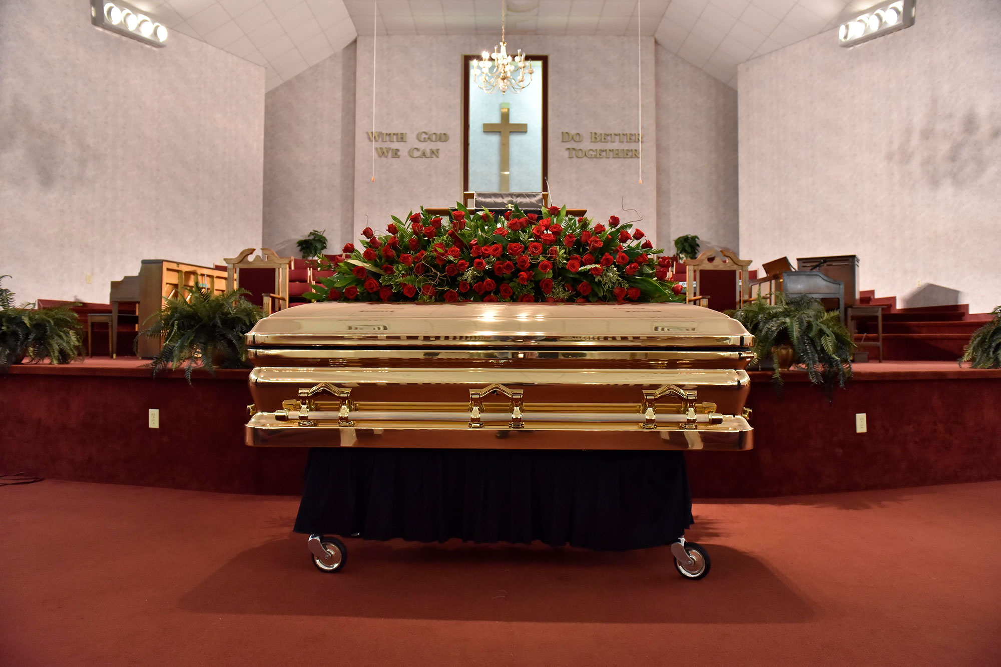 The casket with the body of George Floyd