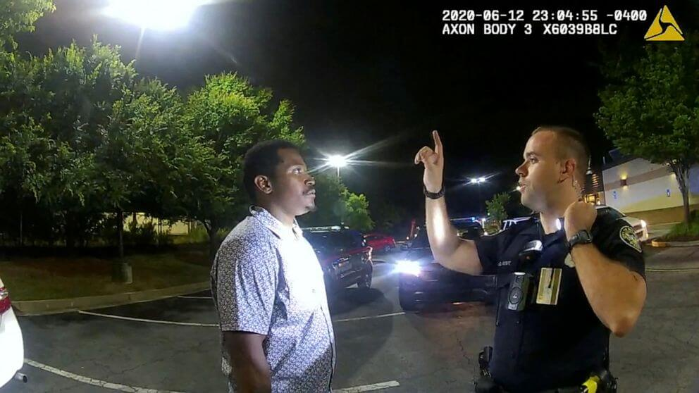 Brooks undergoing a sobriety test