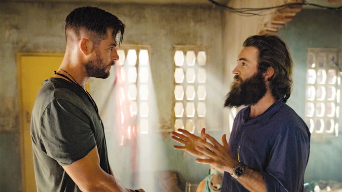 Chris Hemsworth and Sam Hargrave on the set of EXTRACTION