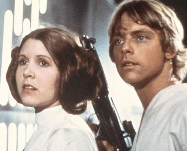 Carrie Fisher and Mark Hamill as Princess Leia Organa and Luke Skywalker