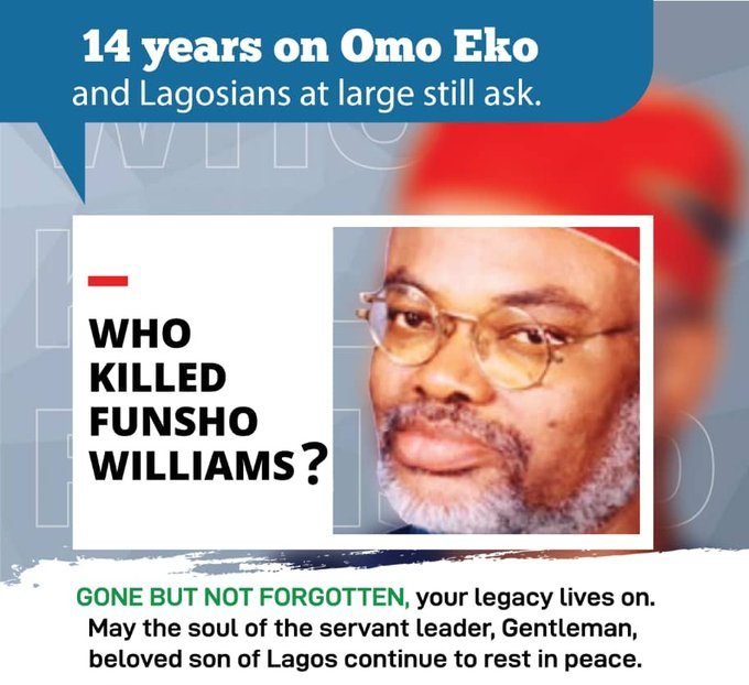 """Who Killed Funsho Williams?"" Nigerians Ask 14 Years After Assassination"