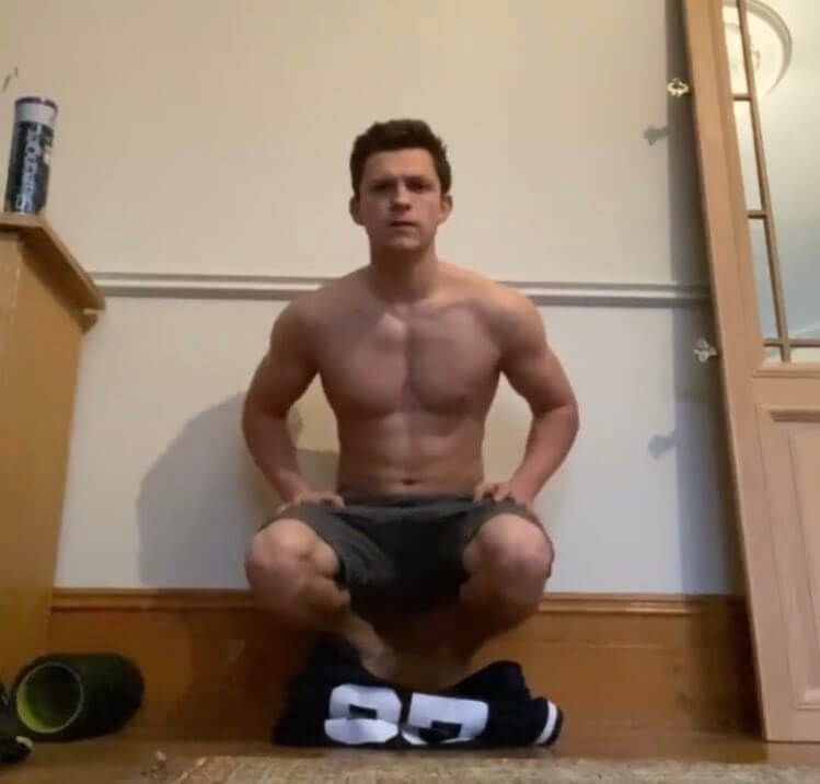 A shirtless picture of Tom Holland