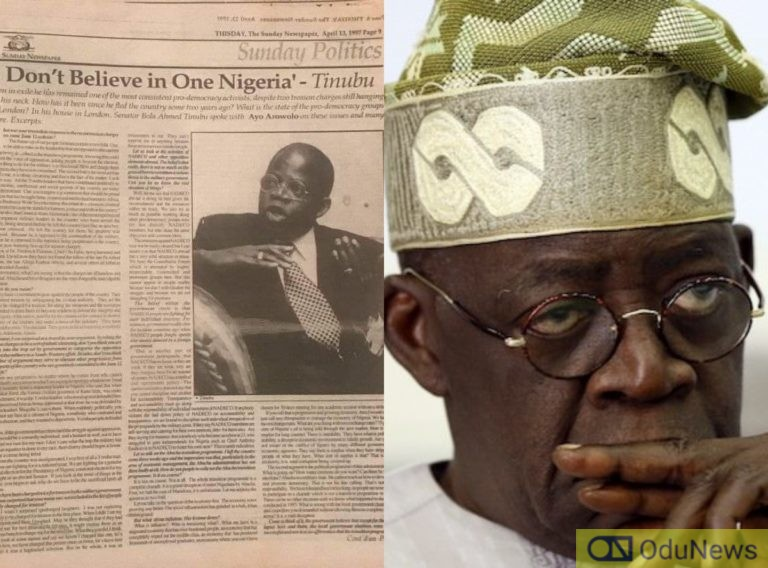"""Tinubu's """"I Don't Believe In One Nigeria"""" Comment Stirs Reactions"""