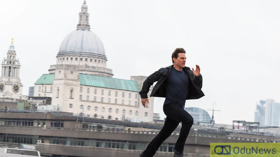 Tom Cruise on the set of MISSION IMPOSSIBLE