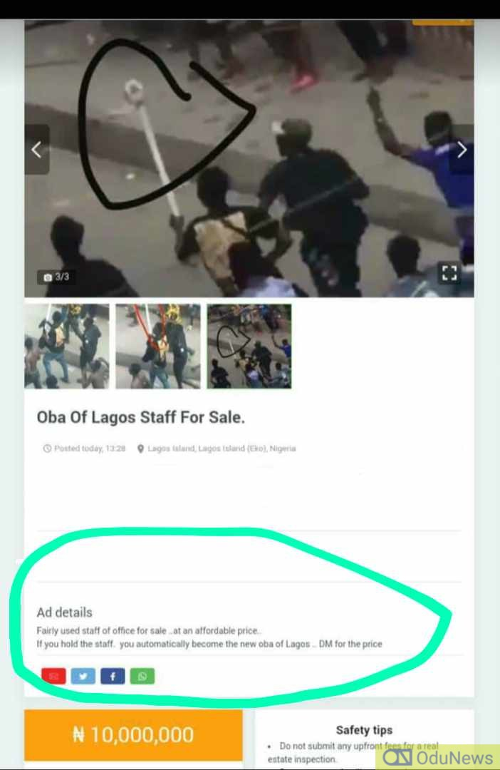 Oba Of Lagos Staff Auctions On Jiji For N10m, Nigerians React
