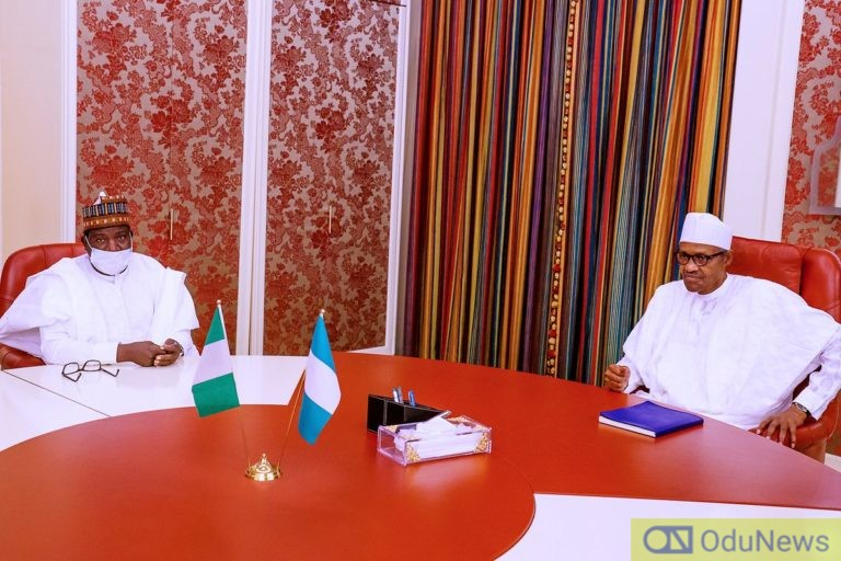 Simon Lalong meeting with President Buhari earlier today