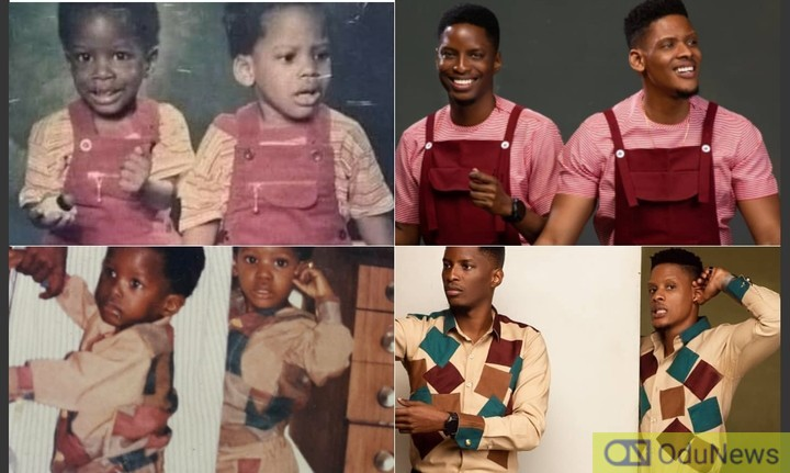 Bbnaija Elozonam And His Twin Bro Recreates Photos From Their Childhood