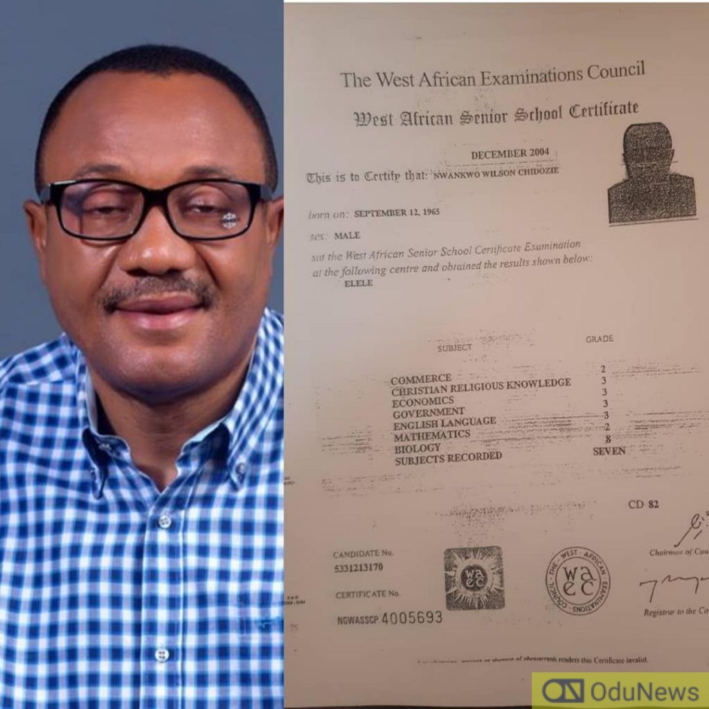 Wilson Chidozie In Trouble With INEC Over Fake WAEC Certificate